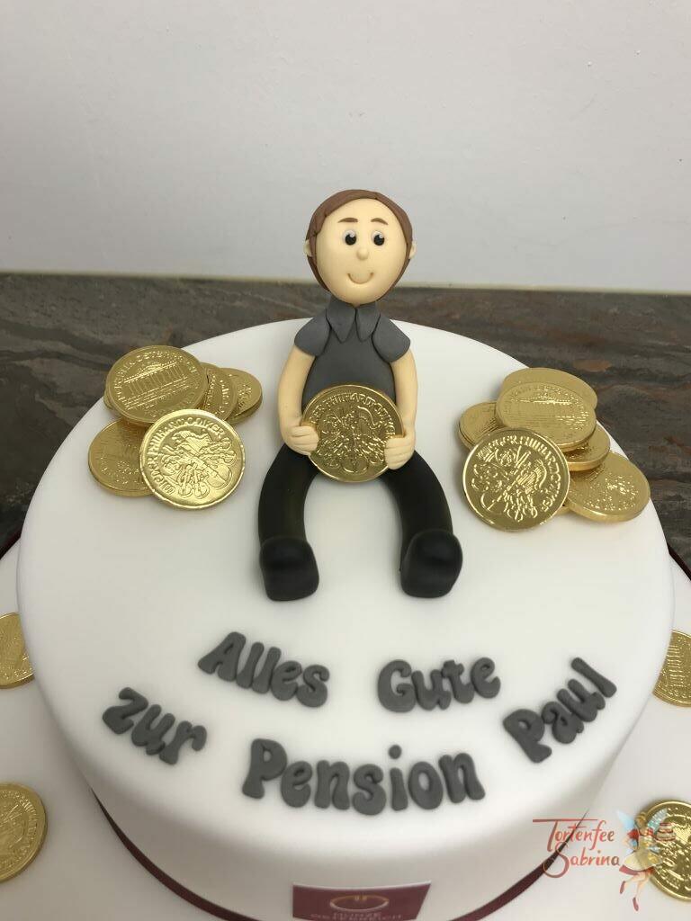 Jahrestagstorte - Mit Münzen in die Pension, zeigt den Münzmeister mit seinem gold glänzenden Tageswerk.