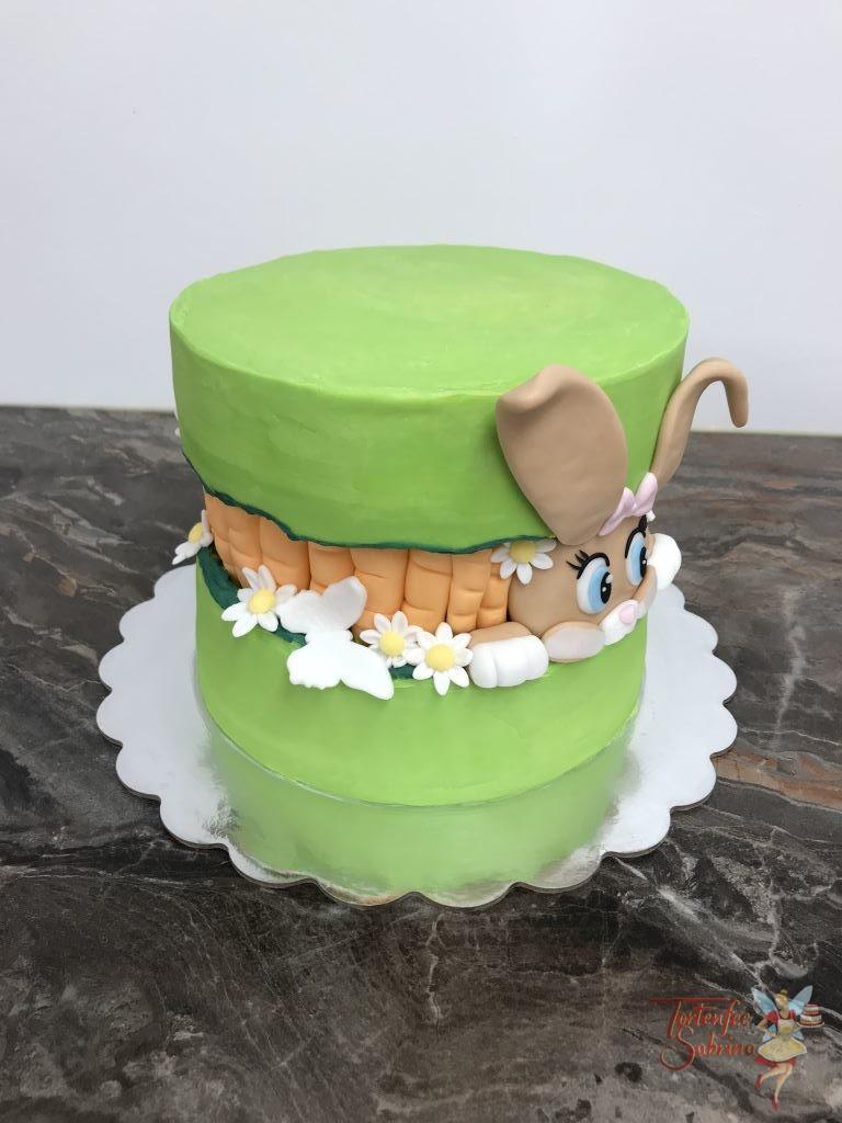 Naked Cake - Fault Line Cake Osterhase mit Karotten, Blumen und selbstgefärbter Schokolade