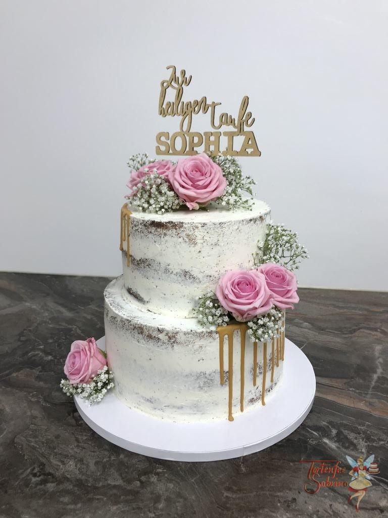 Tauftorte - Goldener Drip mit Rosen auf einer naked Cake mit persönlichem Cake Topper
