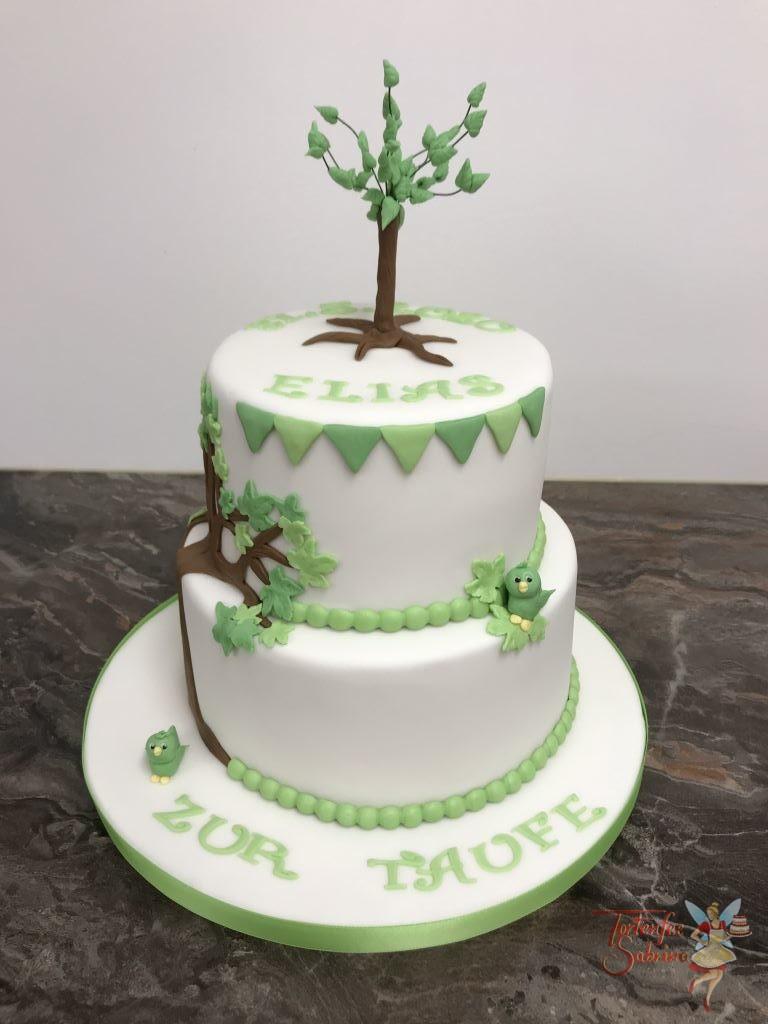 Tauftorte - Lebensbaum mit grünen Blättern und grünen Vögeln